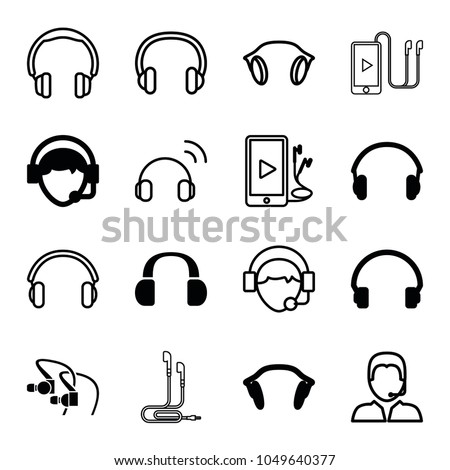 Headset icons. set of 16 editable filled and outline headset icons such as headset, operator, earphones, headphones, phone and earphones