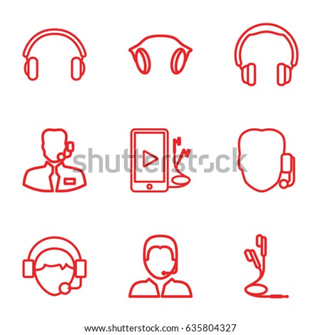 Headset icons set. set of 9 headset outline icons such as operator, phone and earphones, earphones, support, help support