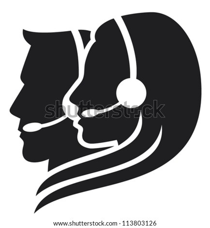 headset symbol (women headset, call center icon, face with headset, support phone operator in headset, women customer support, man headset, man customer support)