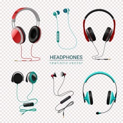 Headsets earphones various types earbuds in-ear headphones realistic colored set transparent background isolated vector illustration
