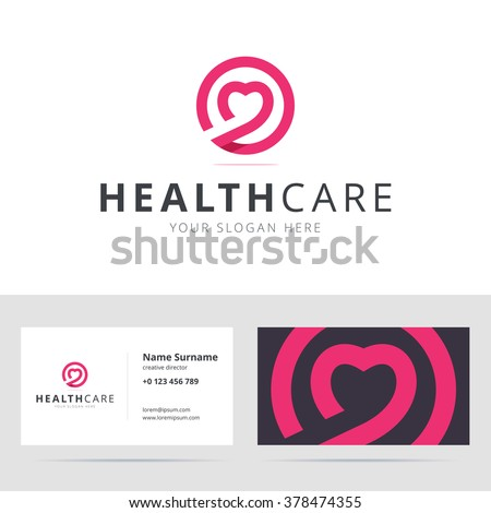 Healt care logo and business card template. Logotype for clinic, medical center, fitness center. Vector illustration in flat style.
