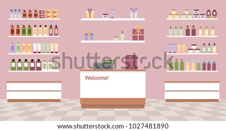 Health and beauty store with colorful cosmetic products in plastic bottles in shelves. Flat style vector illustration.