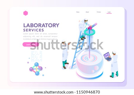 Health and biochemistry laboratory of nanotechnology. Molecule helix of dna, genome or gene evolution. Vector beauty science genome clone sequence concept with characters. Flat isometric illustration