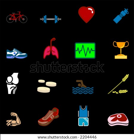 health and fitness icon set series. Icon or design element set series relating to health and fitness.