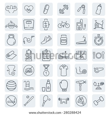 Health and Fitness vector icons.