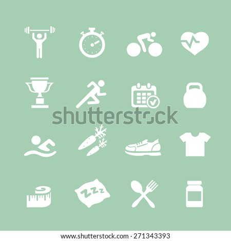 Health and Fitness  white icons  vector set icons with a stopwatch bodybuilder weights dumbbells heart with pulse trainer shoes bottled water