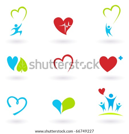 Health and Medical: Cardiology, heart and people icons collection