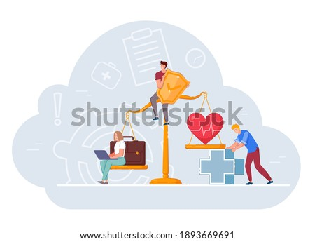 Health and work conflict of interest, imbalance comparison. Measurement equality people healthcare and job, business stress and healthy life on weighing scale to find work balance vector illustration Foto d'archivio ©