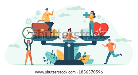 Health and work on scales. People balance job, money and sleep. Comparison business stress and healthy life. Tiny employees vector concept. Measurement equality health and work illustration ストックフォト ©