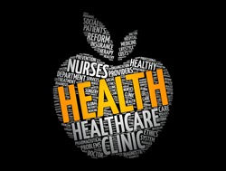 Health apple word cloud collage, concept background