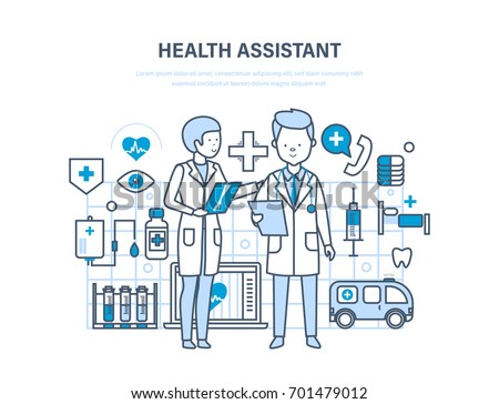 Health assistant concept. Modern health care system. Joint work, assistant doctor. Team medical people. Illustration thin line design of vector doodles, infographics elements. #701479012