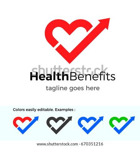 Health Benefits logo. Good health vector design concept