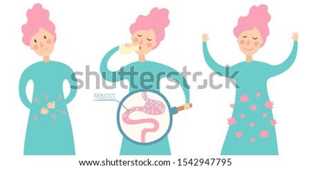 Health benefits of taking probiotics. Probiotic therapy flat style. Girl drinking yogurt with probiotics bacteria in the gut.  Prebiotic, lactobacillus in yogurt. - Vector Scheme of probiotic benefits