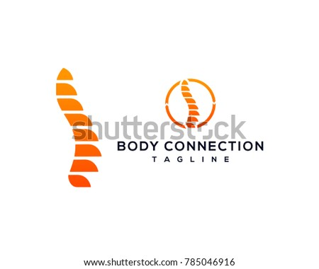 Health Care Abstract Growing Spine Bone - Body Connection Symbol Modern Logo Vector