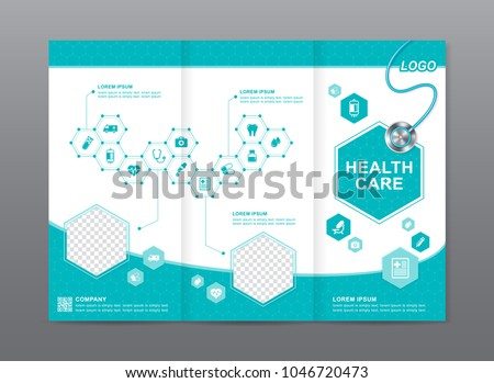 health care and medical brochure design, flyer, leaflets template with place for photos decoration for printing and presentation vector illustration