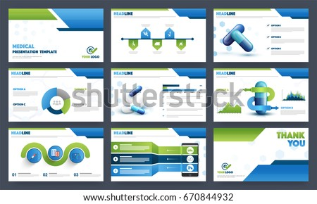 Health Care and Medical presentation templates layout with infographic elements and medical symbols.