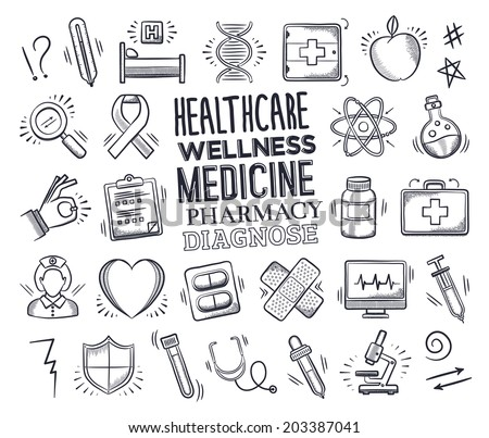 Health care and medicine icon set with typography. Vector doodle illustrations.