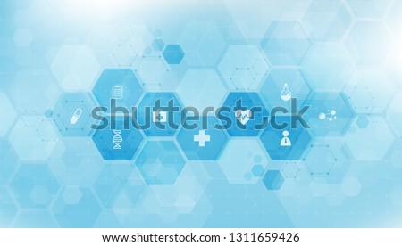 health care and science icon pattern medical innovation concept background vector design.