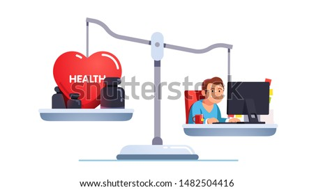 Health care and work conflict of interest, imbalance comparison concept. Healthy heart and tired exhausted stressed worker do job at business office pc desk on scales. Flat vector character illustration