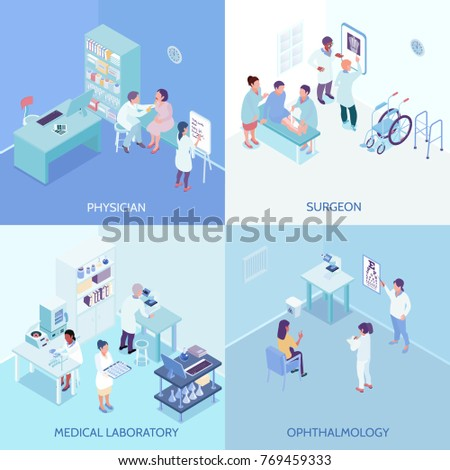 Health care center 2x2 design concept with physician surgeon ophthalmology and medical laboratory square icons isometric vector illustration
