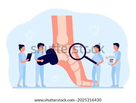 Health care, checkup orthopedic doctor human foot with bones. Orthopedist doing medical diagnostics and examination feet. Foot deformation, pathologies of foot, flat foot. Joint leg pain. Vector