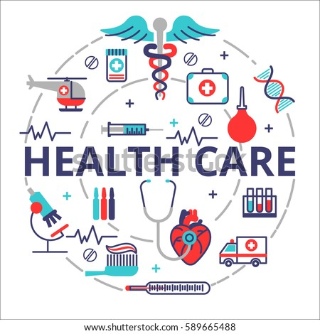 Health care concept in flat line design. Vector illustration with a lot of medical icons. Composition for web banners and info graphic