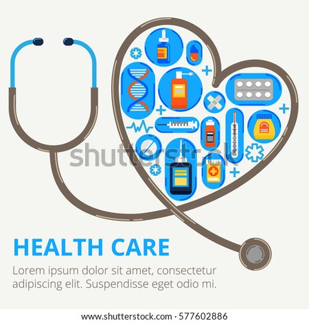 Health care concept in modern flat style. Stethoscope is bent in the shape of heart with a lot of pills. Vector illustration for web banners and info graphic.