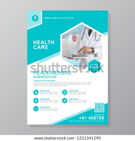 health care cover a4 template design for a report and medical brochure design, flyer, leaflets decoration for printing and presentation vector illustration Stock photo ©