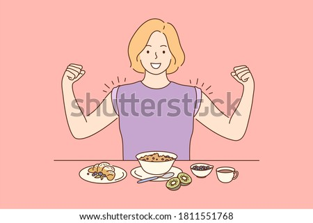 Health, care, food, diet concept. Young happy miling cheerful woman girl cartoon character eating breakfast dinner lunch supper showing muscles. Dieting healthy lifestyle loosing weight illustration.