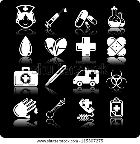 Health Care Icon Set Black-And-White