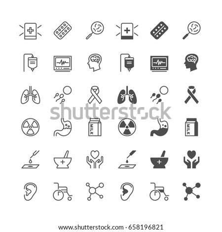 Health care icons, included normal and enable state.