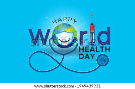 Health care Logo. clinic. online doctor. world health day. background with world mask and vaccine vaccination concept creative. pollution mask and covid 19 Corona virus. world health day.