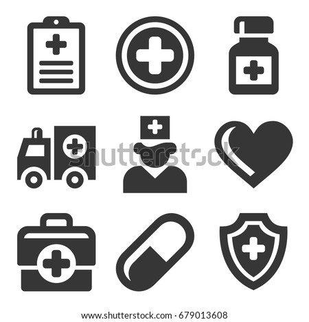 Health Care Medical Icons Set. Vector