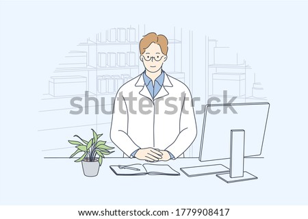 Health, care, medicine, pharmacy concept. Young happy smiling man or guy doctor pharmacist standing in drugstore looking at camera. Medical service and consultation about treatment pills illustration.