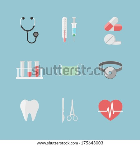 Health care pictograms for hospital website isolated vector illustration