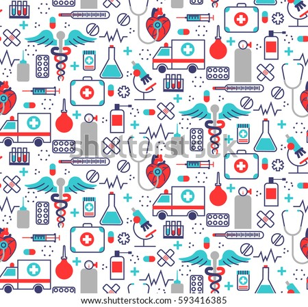 Health care seamless pattern in modern flat line style. A lot of medical things