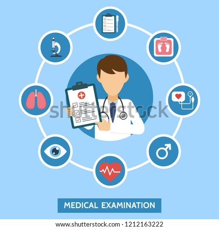 Health care services concept with infographics elements. Medical examination. Banner with doctor and medical tests. Online doctor diagnosis. Hospital equipment. Vector illustration. Stock photo ©