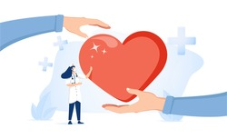 Health care vector illustration. Cardiology doctors flat tiny persons concept. Symbolic heart treatment and healing with professional nurse and doctors. Organ healthcare system for disease and illness