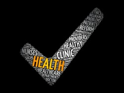 Health check mark word cloud collage, concept background