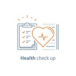 Health check up checklist, cardiovascular disease prevention test, heart diagnostic, electrocardiography service, undergo ecg procedure, medical checkup clipboard, hypertension risk, vector line icon