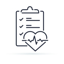 Health check up checklist for cardiovascular disease prevention test. Heart diagnostic electrocardiography service, undergo ecg procedure for medical clipboard. Hypertension risk vector line icon