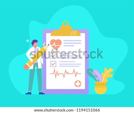 health check up vector illustration concept, doctor holding pencil and form, can use for, landing page, template, ui, web, mobile app, poster, banner, flyer