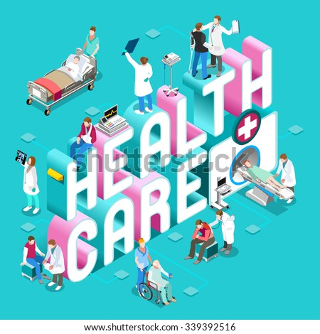 Health Clinic 3D Care Concept. Day Hospital Staff Doctor Nurse Patient treatment Isometric People icon Health Medical Worker. Diagnostic Emergency Surgery Vector healthcare medicine infographic people