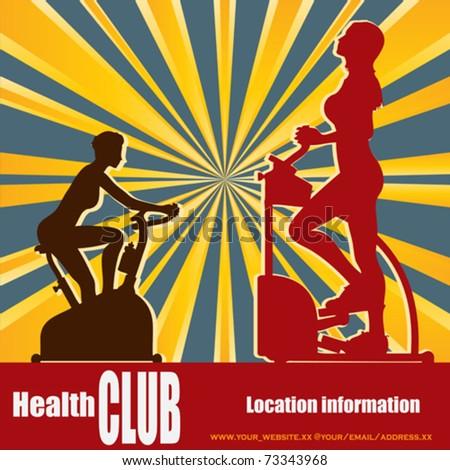 Health Club Retro Style Vector Flyer