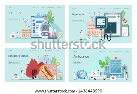 Health concept of hypotension and hypertension disease. Diabetes mellitus, type 2 diabetes and insulin production concept vector.  High Cholesterol Blood Pressure and Atherosclerosis Tiny People.