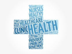 Health cross word cloud collage, concept background