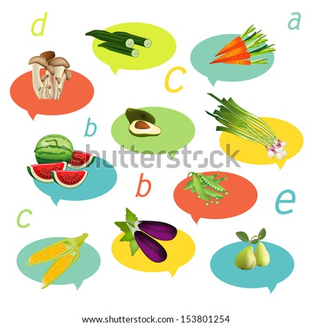Health fruit and vegetable. Vitamins illustration. #153801254