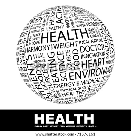 HEALTH. Globe with different association terms. Wordcloud vector illustration.