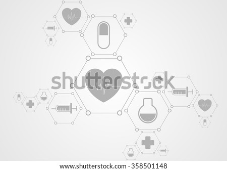Health grey tech background and medical icons. Vector science design #358501148