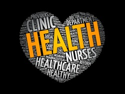 HEALTH heart word cloud, fitness, sport, health concept background